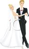 Bride and Groom Dancing the Wedding Dance clipart