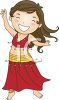 Cartoon of a Little Girl Belly Dancing clipart