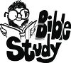 "Girl Wearing Glasses Studying the Bible with ""Bible Study"" Text clipart"
