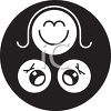 Mother and Two Crying Babies Icon clipart