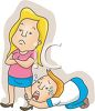Cartoon of a Man Pleading with His Wife Not to Leave clipart