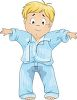 Cartoon of a Little Boy Who Wet the Bed clipart