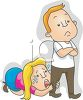 Cartoon of a Woman Pleading with Her Husband Not to Leave clipart