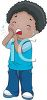 Cartoon of an African American Boy with a Toothache clipart