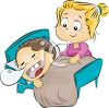 Little Girl Tickling Her Brother clipart