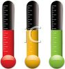 Thermometers with Different Colored Liquid at the Same Temperature clipart