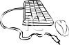 Computer keyboard and mouse in black and white clipart