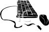 Simple black graphic of computer keyboard and mouse clipart