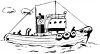 Tugboat on the High Seas Coloring Page clipart