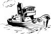 Coloring Page of a Tugboat clipart