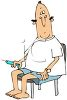 Diabetic Man Giving Himself a Shot with a Hypodermic Needle Cartoon clipart