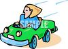 Woman Driving in a Tiny Compact Car clipart