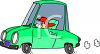 Short Person or Child Driving a Car clipart
