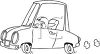Coloring Page of a Child or Short Person Driving a Car clipart