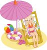 Little Girl at the Beach Sitting Under a beach Umbrella clipart