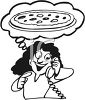 Woman Ordering a Pizza clipart
