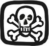 Poison Symbol or Pirate Flag with Skull and Crossbones clipart