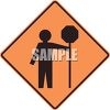 Stop Ahead Road Sign Showing Person Holding a Stop Sign clipart