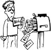Person at Mailbox with Lots of Bills to be Paid clipart