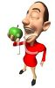 Man Eating a Green Aple - Healthy Person clipart