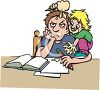 Older brother with younger sibling bugging him as he tries to do homework clipart