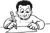 Child enthused about writing a letter or doing homework clipart
