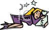Tired woman asleep in bed with her head on the pillow clipart