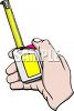Hand holding a tape measure with the ruler sticking out a couple of inches clipart