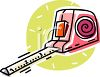 Cartoon drawing of a tape measure measuring in inches clipart