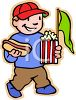 Boy at baseball game with hotdog and popcorn clipart