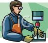 Craftsman operating a drill press in a shop clipart