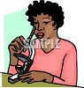 African American woman looking through a microscope clipart