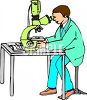 Scientist or researcher using a powerful microscope clipart