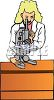 Female scientist using a microscope in the laboratory clipart