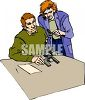 Researchers at work in the laboratory using a microscope clipart
