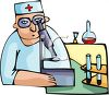 Medical researcher or chemist using a microscope clipart