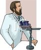 Scientist using a microscope clipart