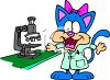 Cartoon cat scientist using a microscope clipart