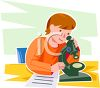 Child using a microscope for a science project clipart