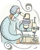 Researcher in healthcare industry using a microscope for biology research clipart