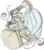 Woman scientist using computer and microscope clipart