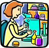 Woman researcher or pharmacist looking through a microscope clipart