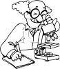 Cartoon scientist looks through a microscope clipart
