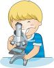Cartoon of little boy discovering things with a microscope clipart