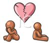 Sad couple, a man and woman breaking up with a broken heart between them clipart