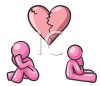 Symbolic broken heart with a depressed and dejected man and woman underneath clipart