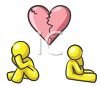 Lovers, a boy and girl mad at each other underneath a broken heart clipart