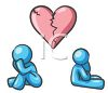 Man and woman character angry at each other underneath a broken heart clipart