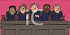 Supreme Court judges, all with gavels dressed in robes, in a court room clipart