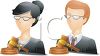 A male judge and a female judge clipart